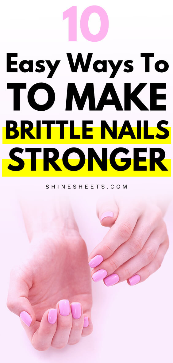 Brittle nails painted with pink gel nail polish
