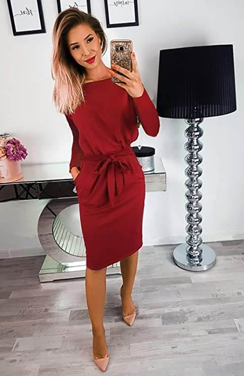 beautiful woman shows how to look good in red dress
