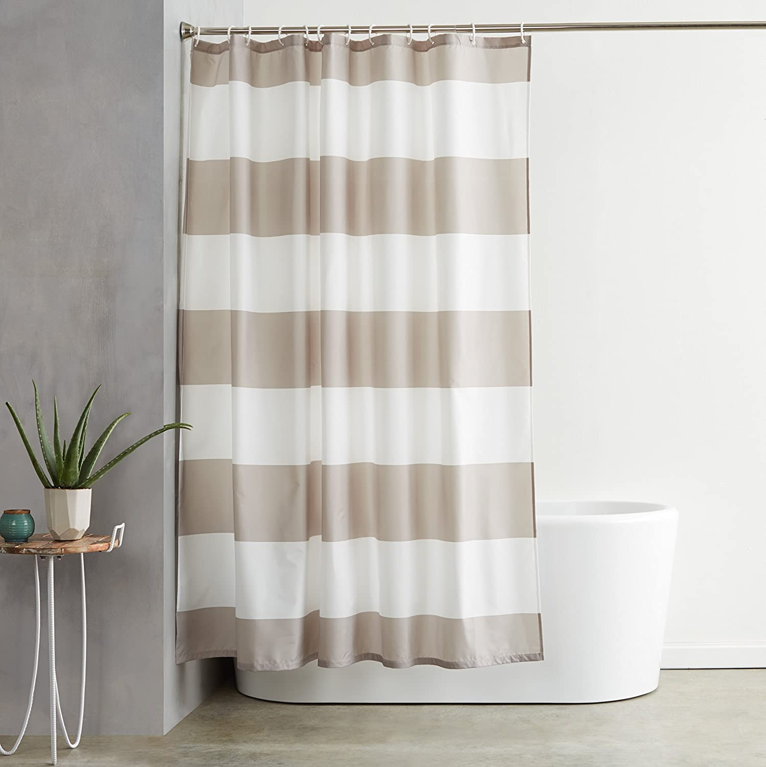 cozy sand and white color shower curtain as a cheap way to decorate