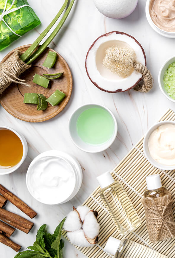 Tools, masks, creams and aloe for beauty self care strategies