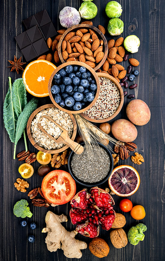 high fiber foods on the table as one of the wellness tips for weight loss