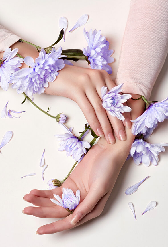 Woman hands touching colorful flowers as one of the self care strategies