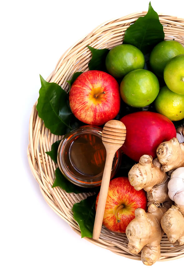 honey apples and ginger citrus drinks as foods that fight infection