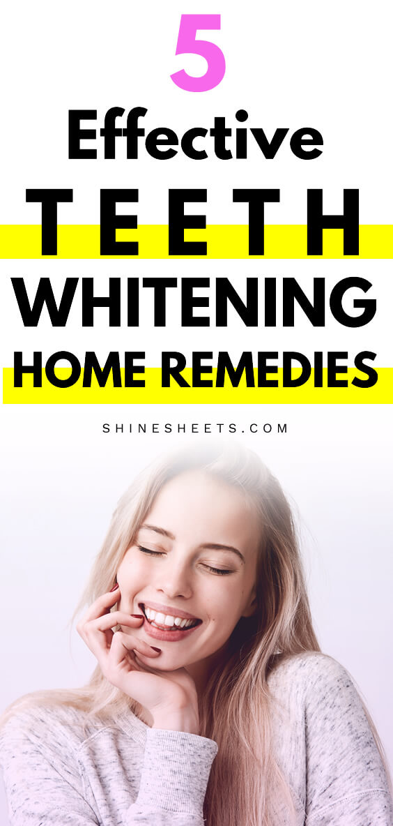young blonde girls shows off perfect smile after using teeth whitening home remedies