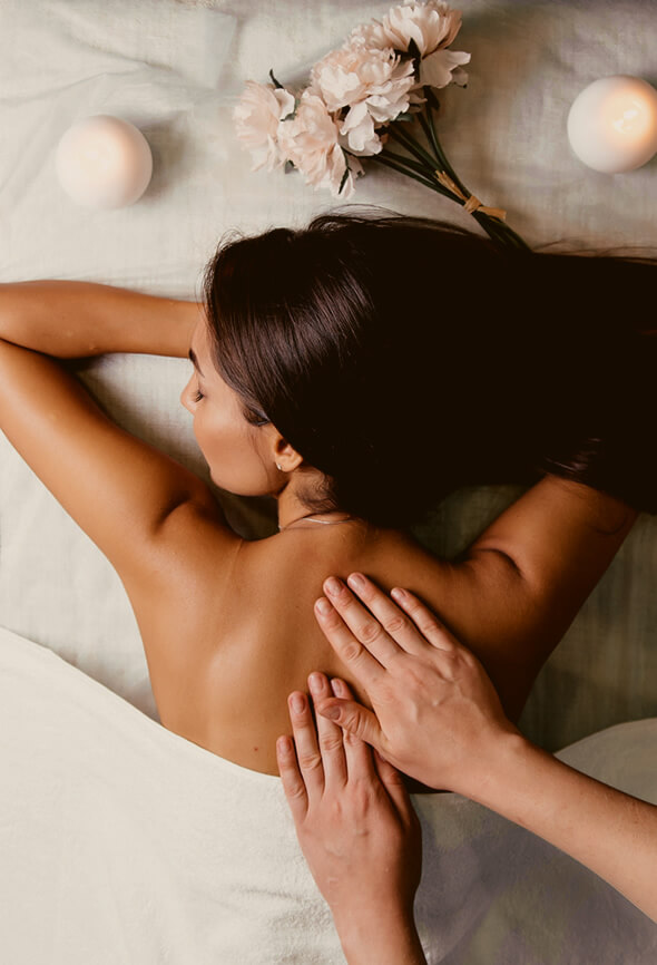 woman getting a massage to feel better