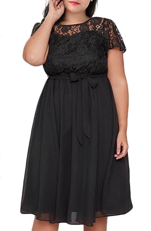 plus size woman in black dress