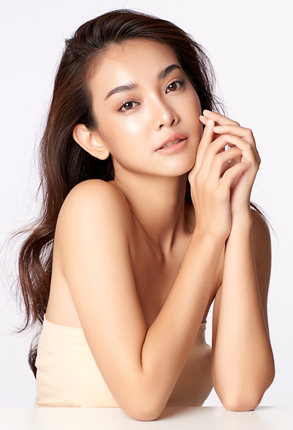 asian woman with clear skin after enzyme peel