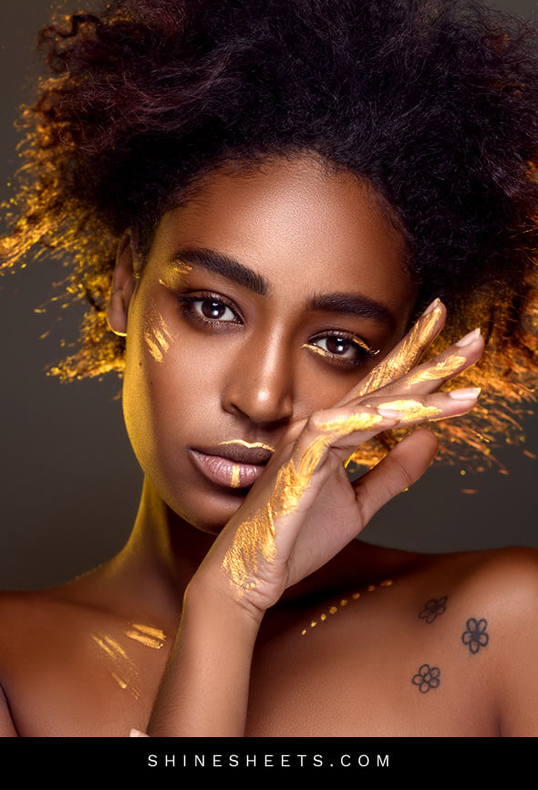 beautiful black woman with skin marks as a concept of beaut habits for skin