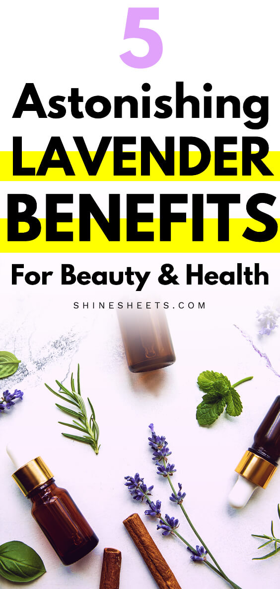 lavender benefits asociative photo with lavender plants and oils