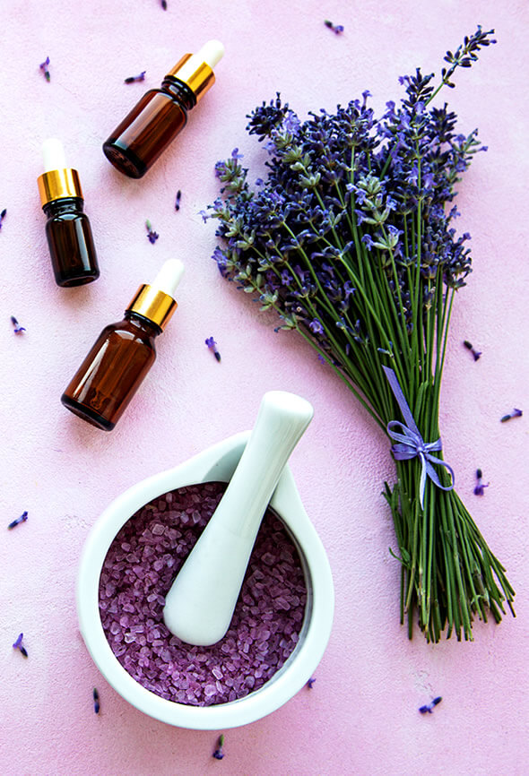 lavender oil and salts on table