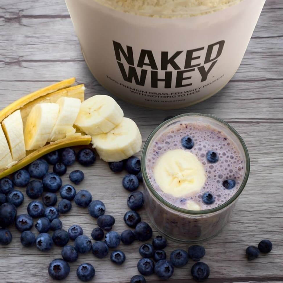 naked whey protein shake blueberries and bananas