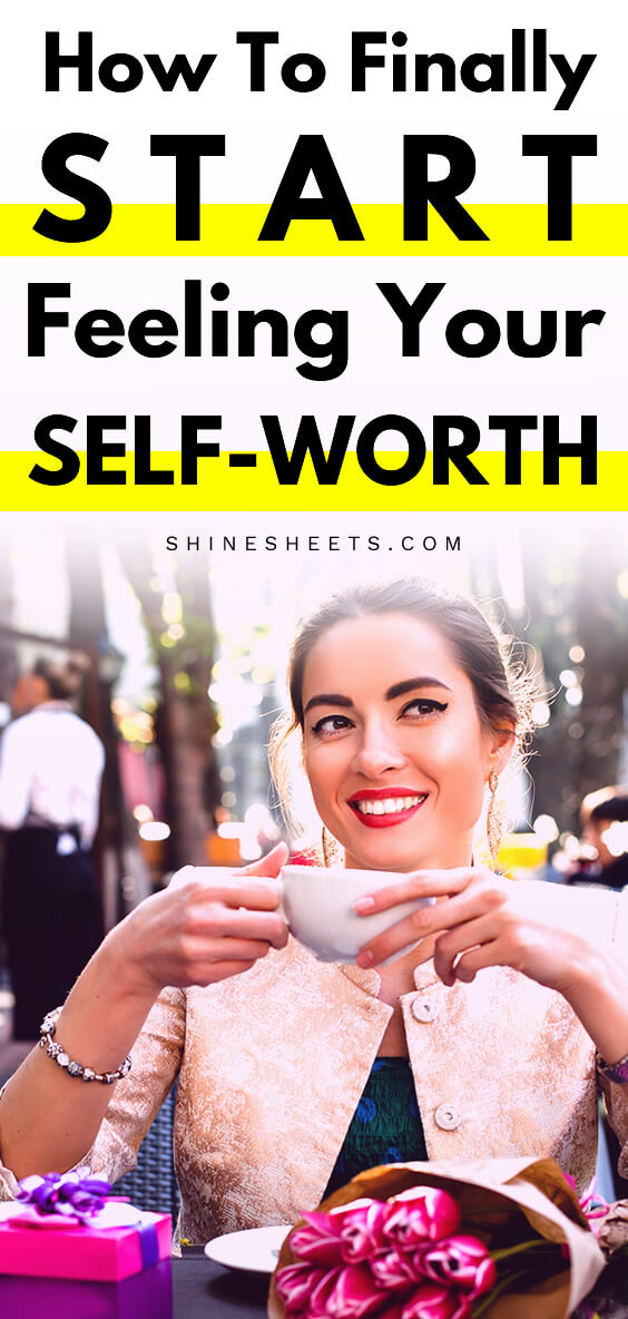 woman sitting in a park and smiling with self-worth in her eyes