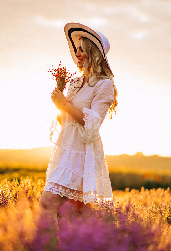 woman with long hair in lavender field