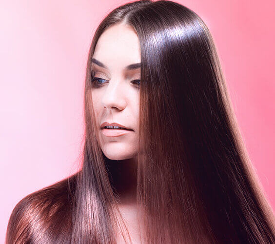 young girl with extremely shiny hair