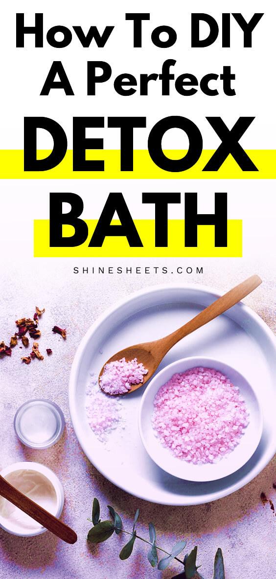 diy detox bath ingredients and salt on the table