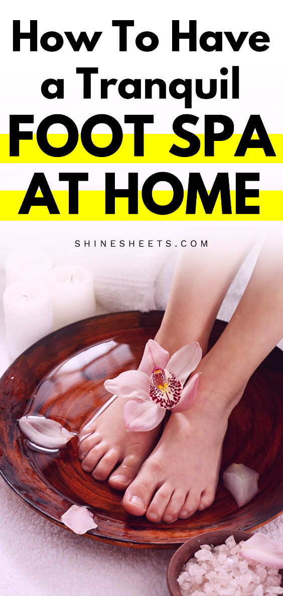 foot spa at home in a wooden bowl