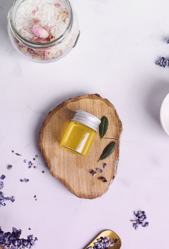 soothing bath products and lavender