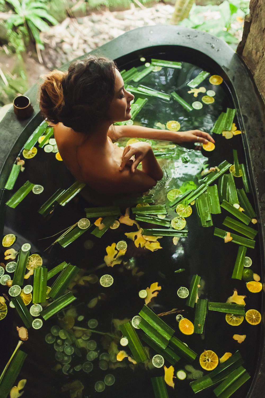 woman having a detox bath
