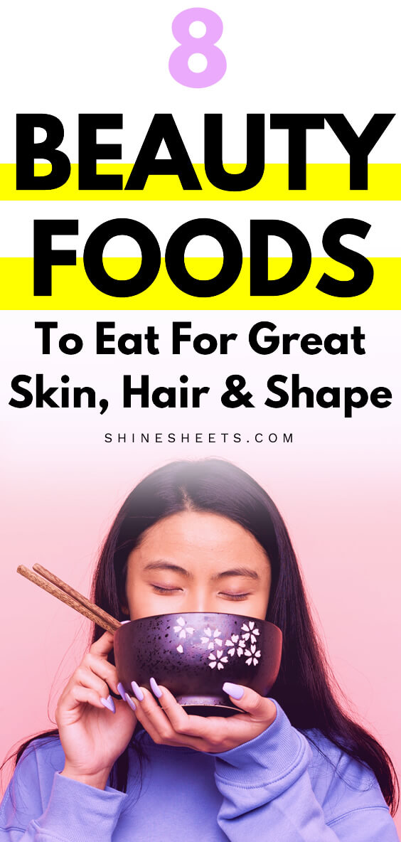 asian woman eating beauty foods with sticks