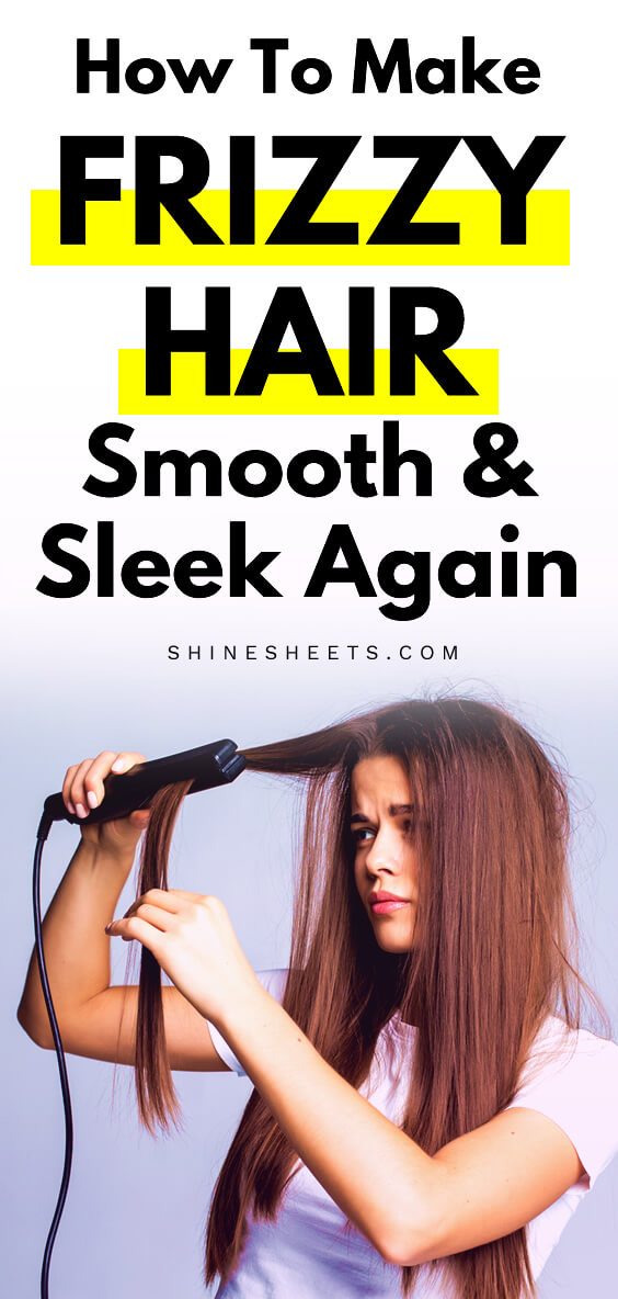 woman flat ironing her frizzy hair