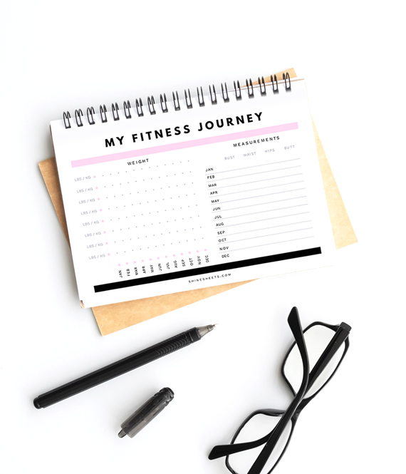 free weight loss tracker printable on desk