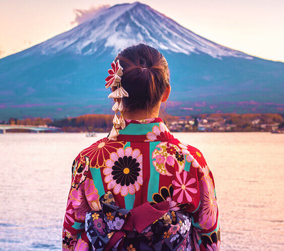 ikigai illustration with japanese woman looking at mount fuji