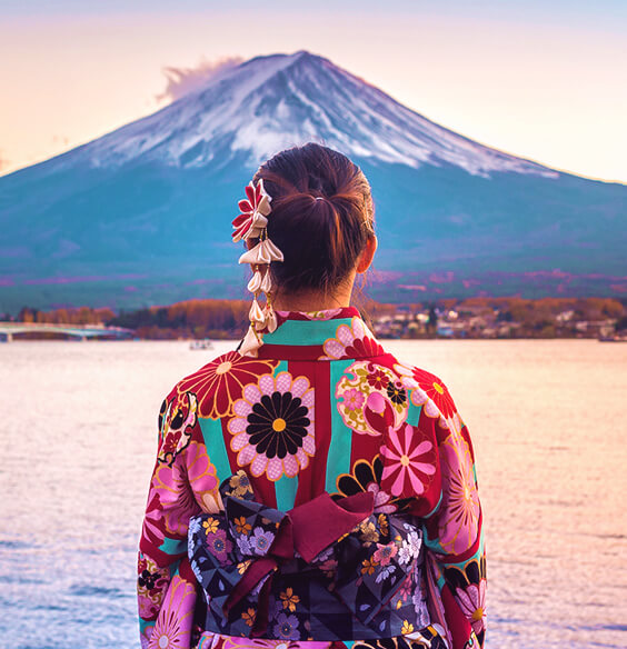 ikigai illustration with japanese woman looking at mount fuji