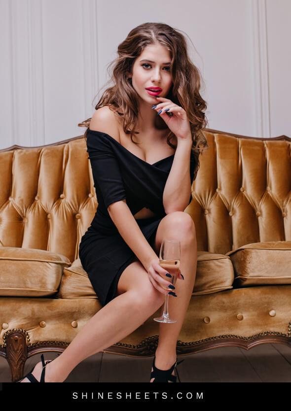 pretty woman in a little black dress as an illustration of social etiquette