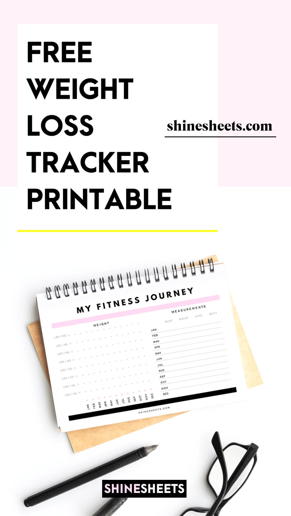 weight loss tracker printable on the desk
