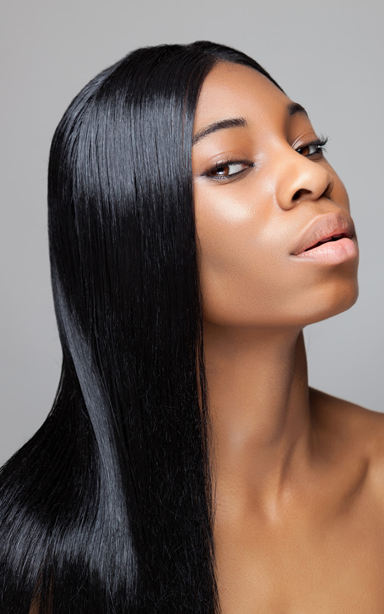 black beautiful woman with perfect hair health