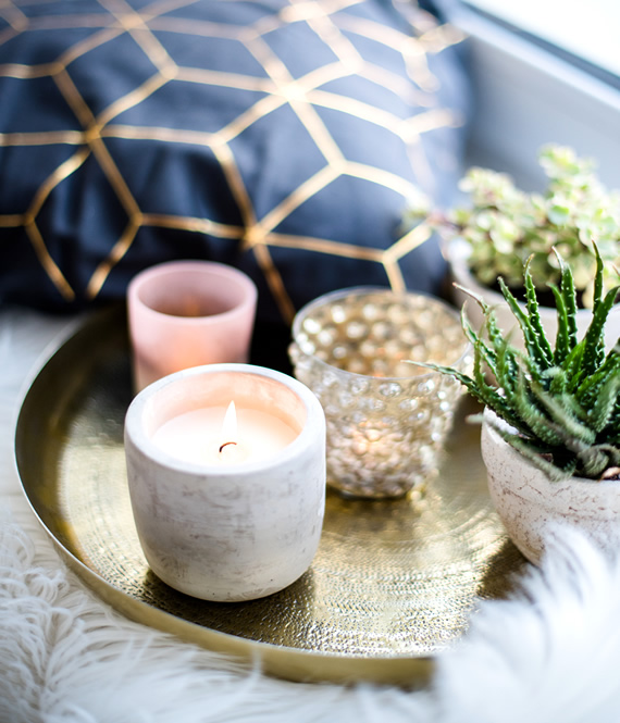 candles and pillows