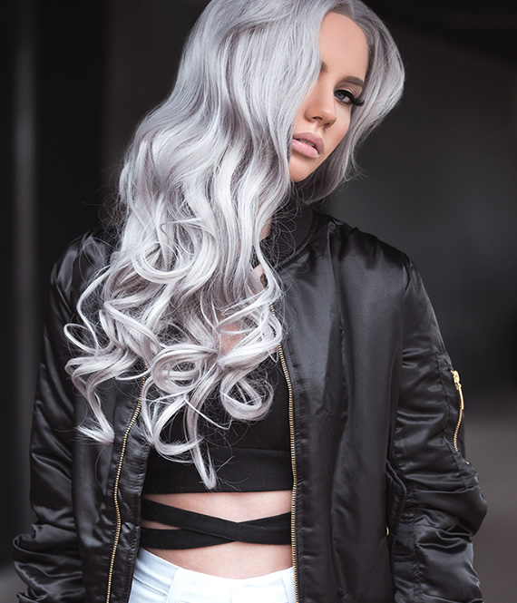 gorgeous woman with lavender hair