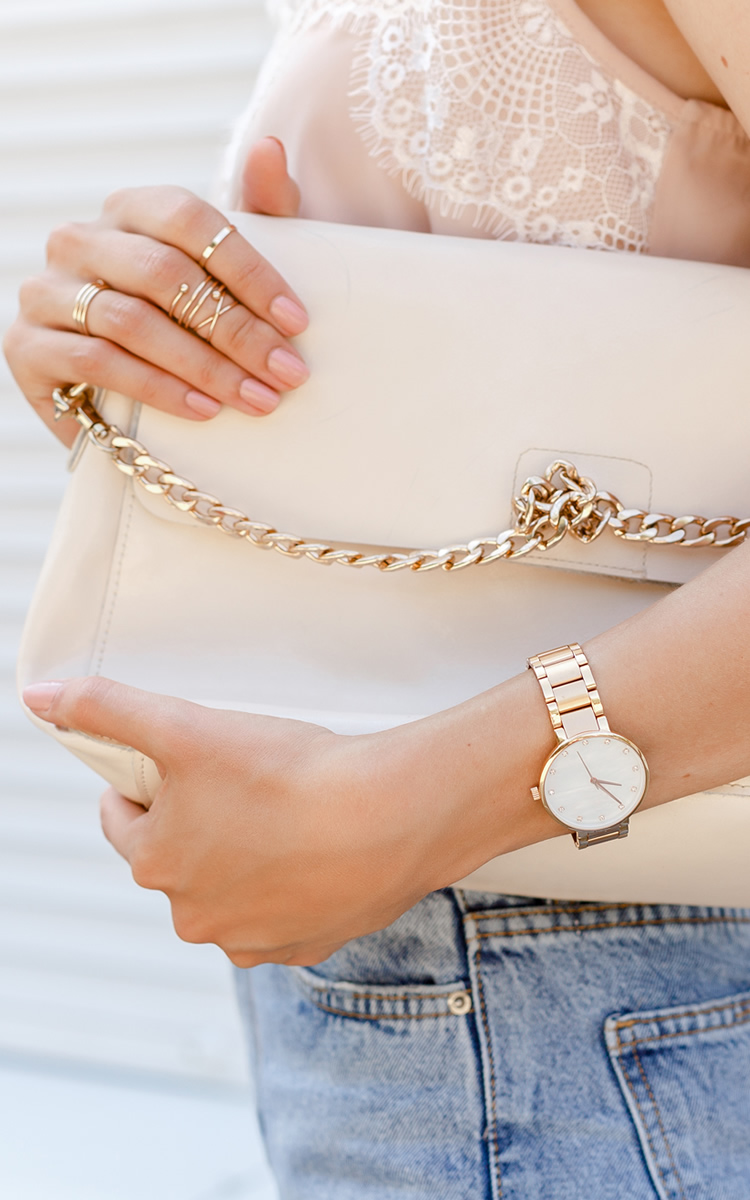 woman hand watch bag