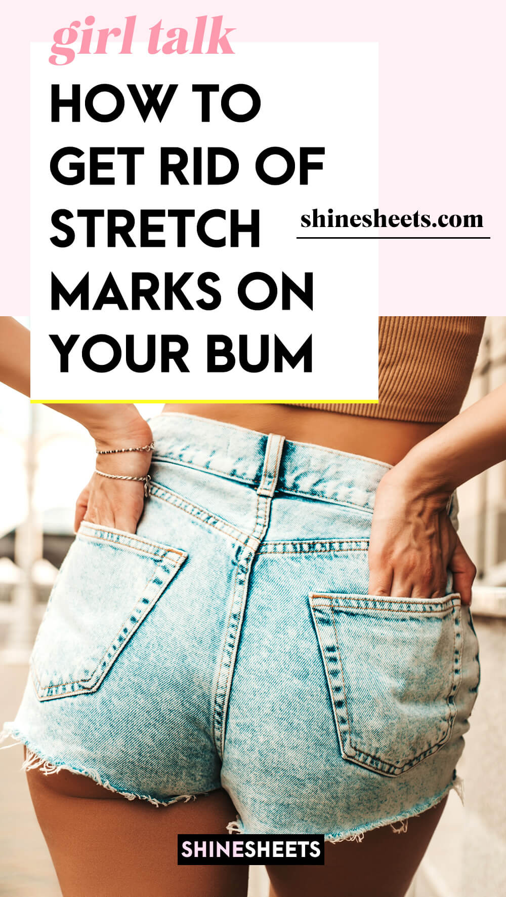 woman hiding stretch marks on butt