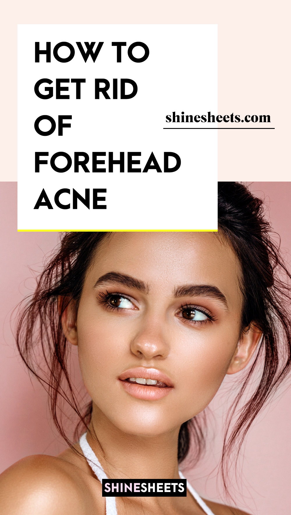 woman with no acne on her forehead