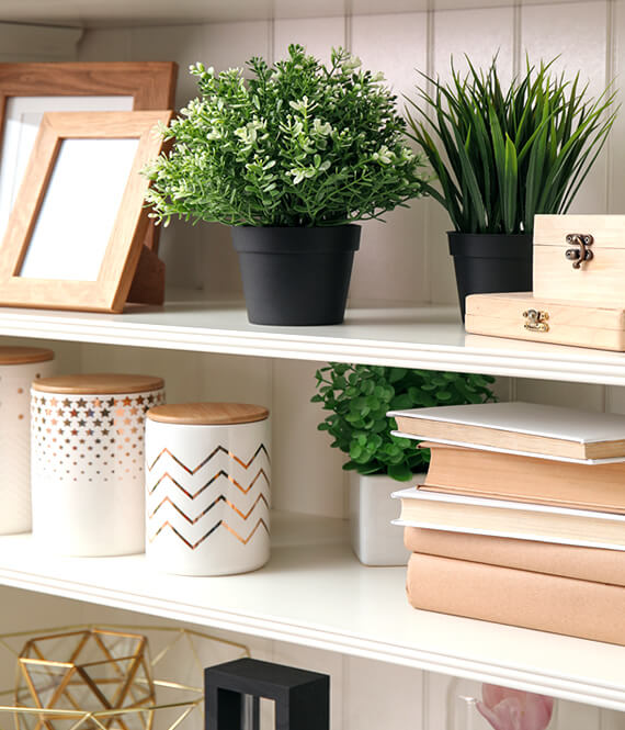 decluttered shelves