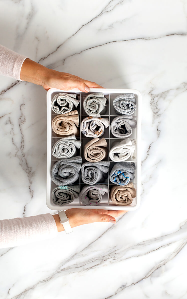 decluttered sock drawer as home organization example