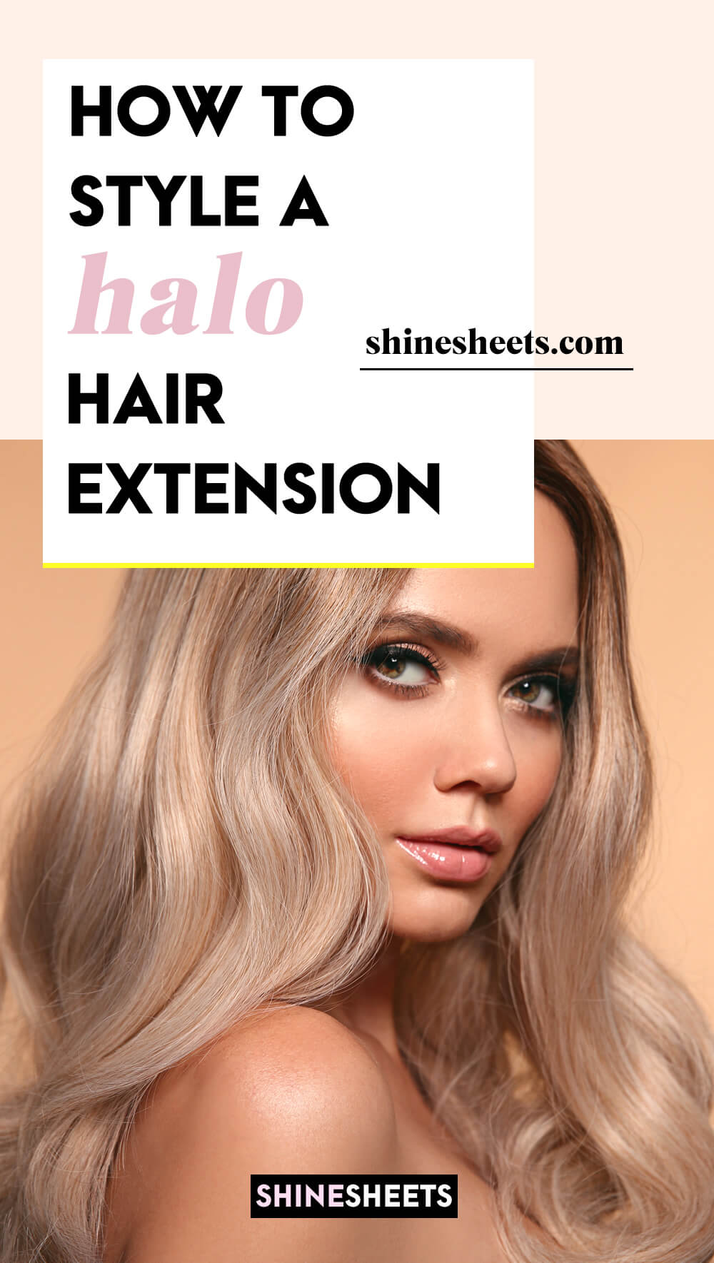 woman as an example on how to style halo hair extension