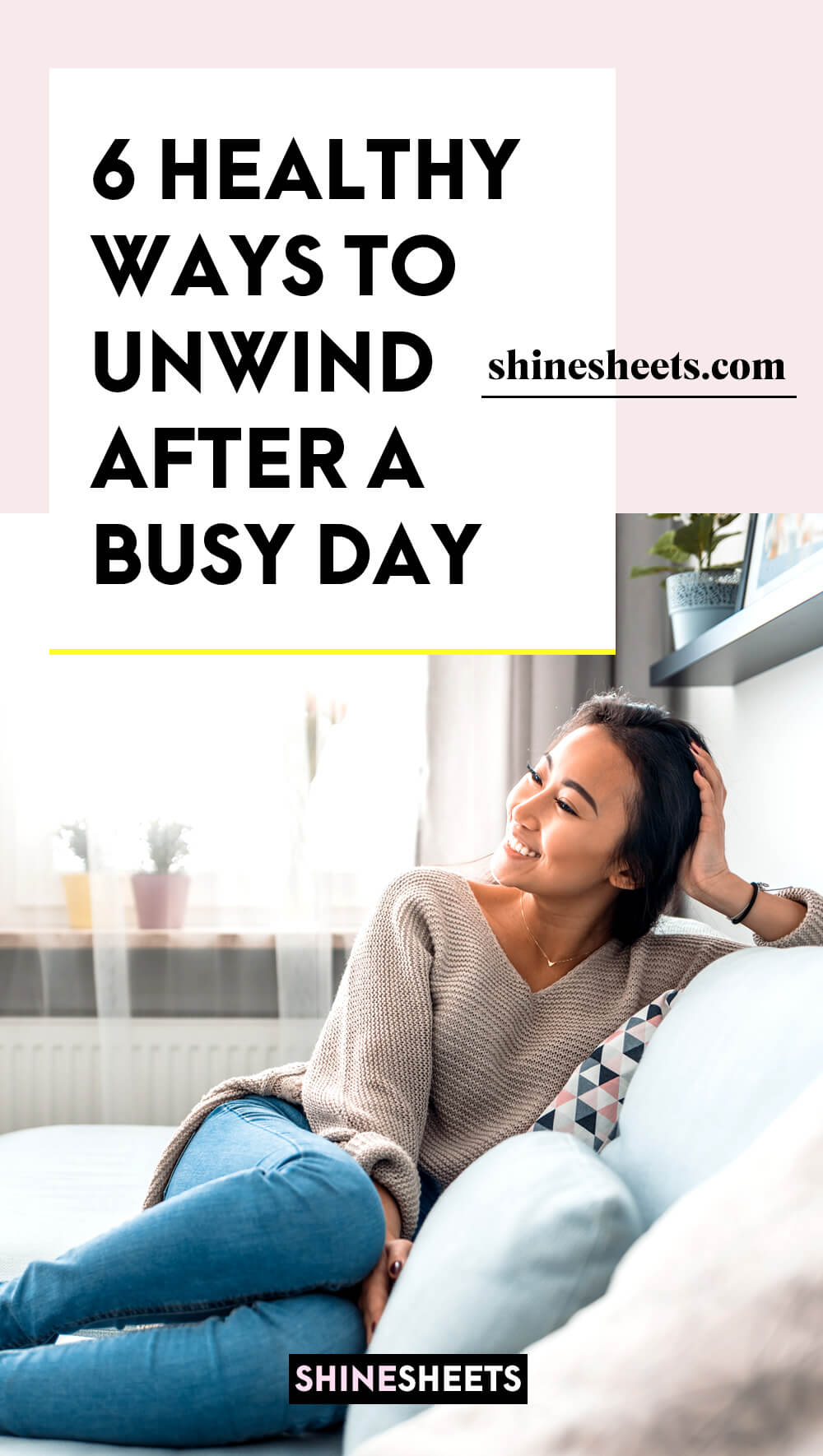woman smiling to unwind after a busy day