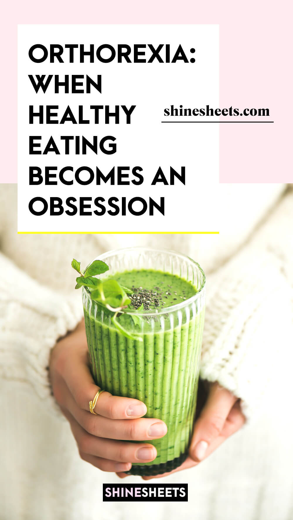 woman with orthorexia holding green smoothie