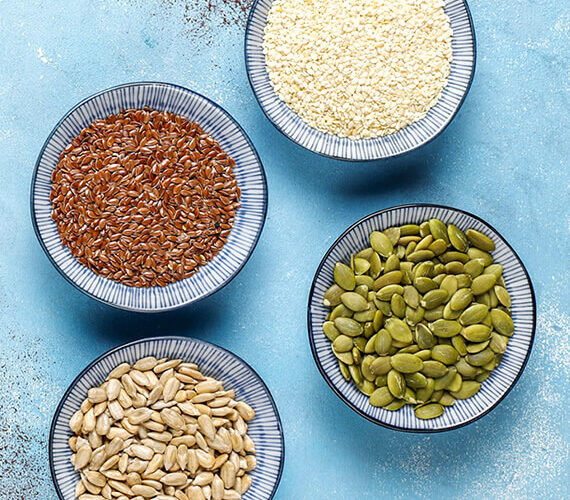 flax sesame pumpkin and sunflower seeds for seed cycling for pcos