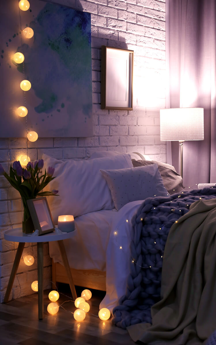 cosy bedroom with dimmed lights