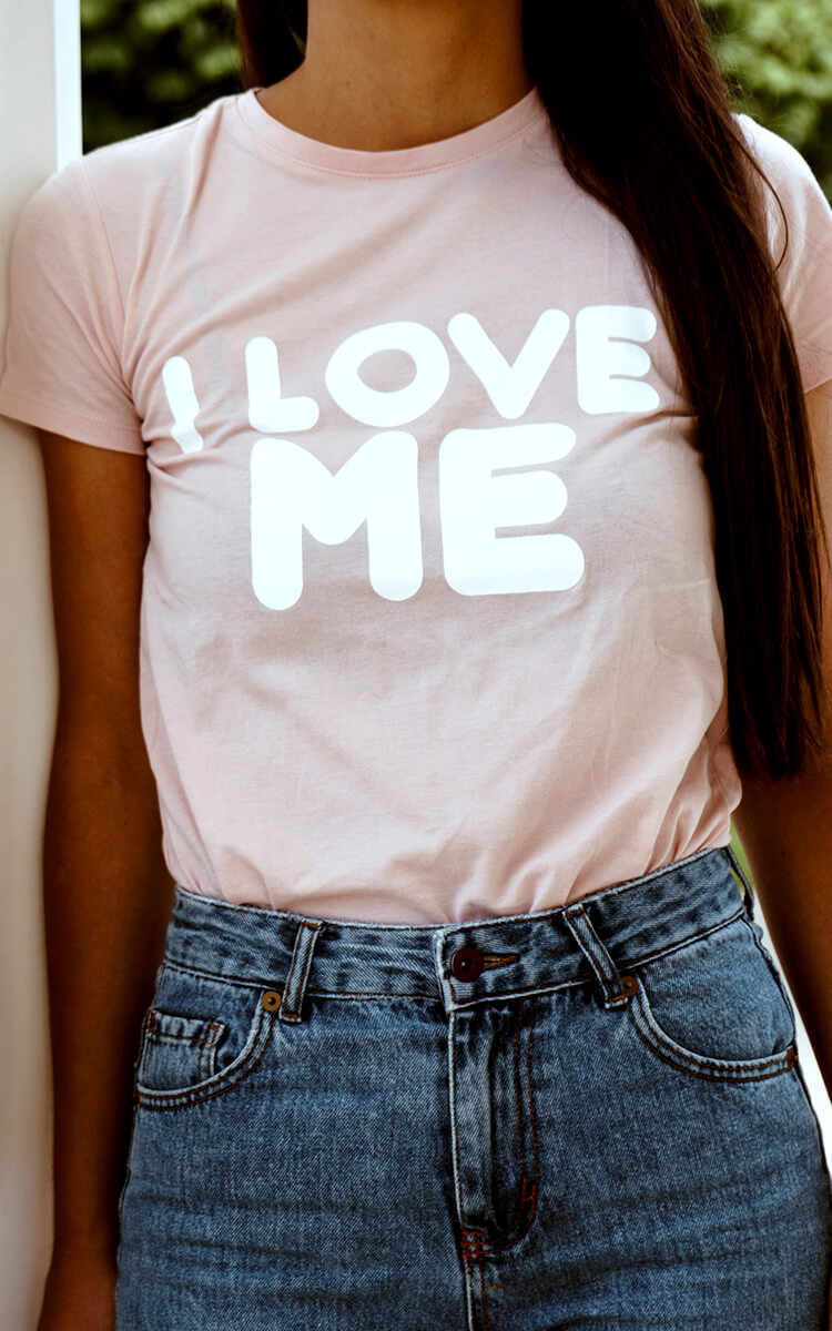 pretty girl with self-love inspired t-shirt