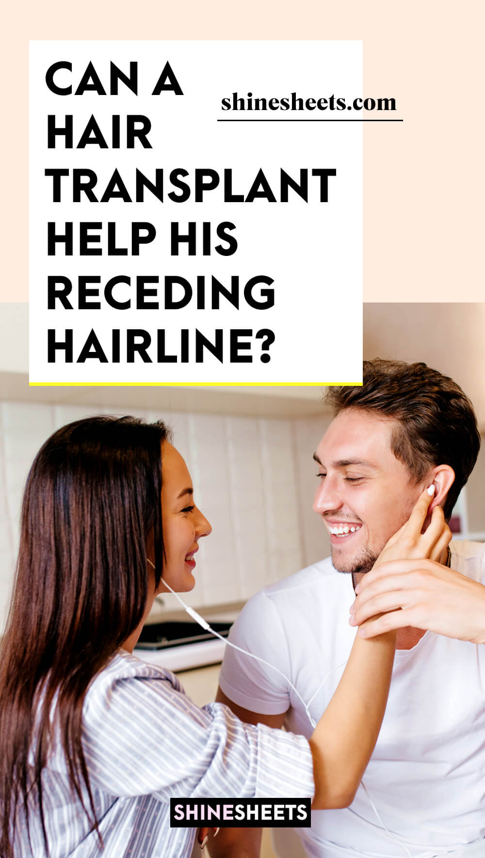 woman checking out her boyfriend's hair