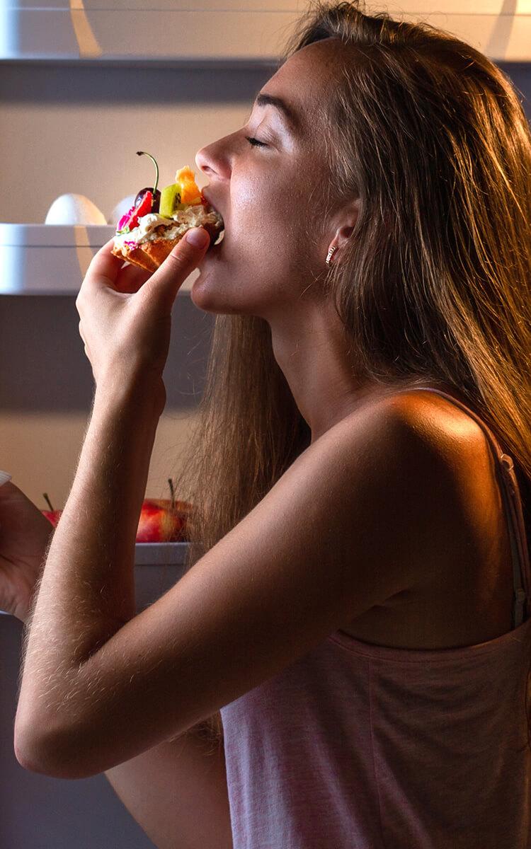 woman midnight snacks