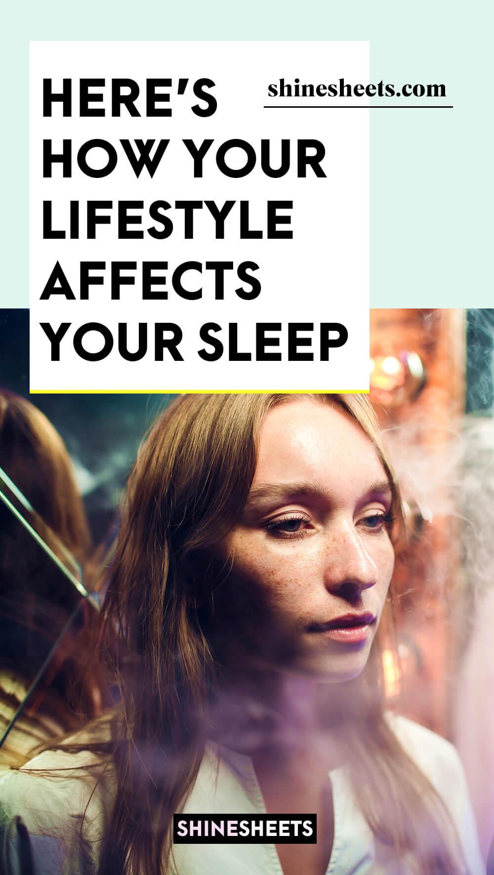 woman smoking electronic cigarette despite affected sleep