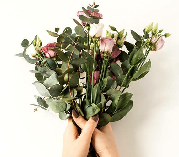 woman with flowers bouquet