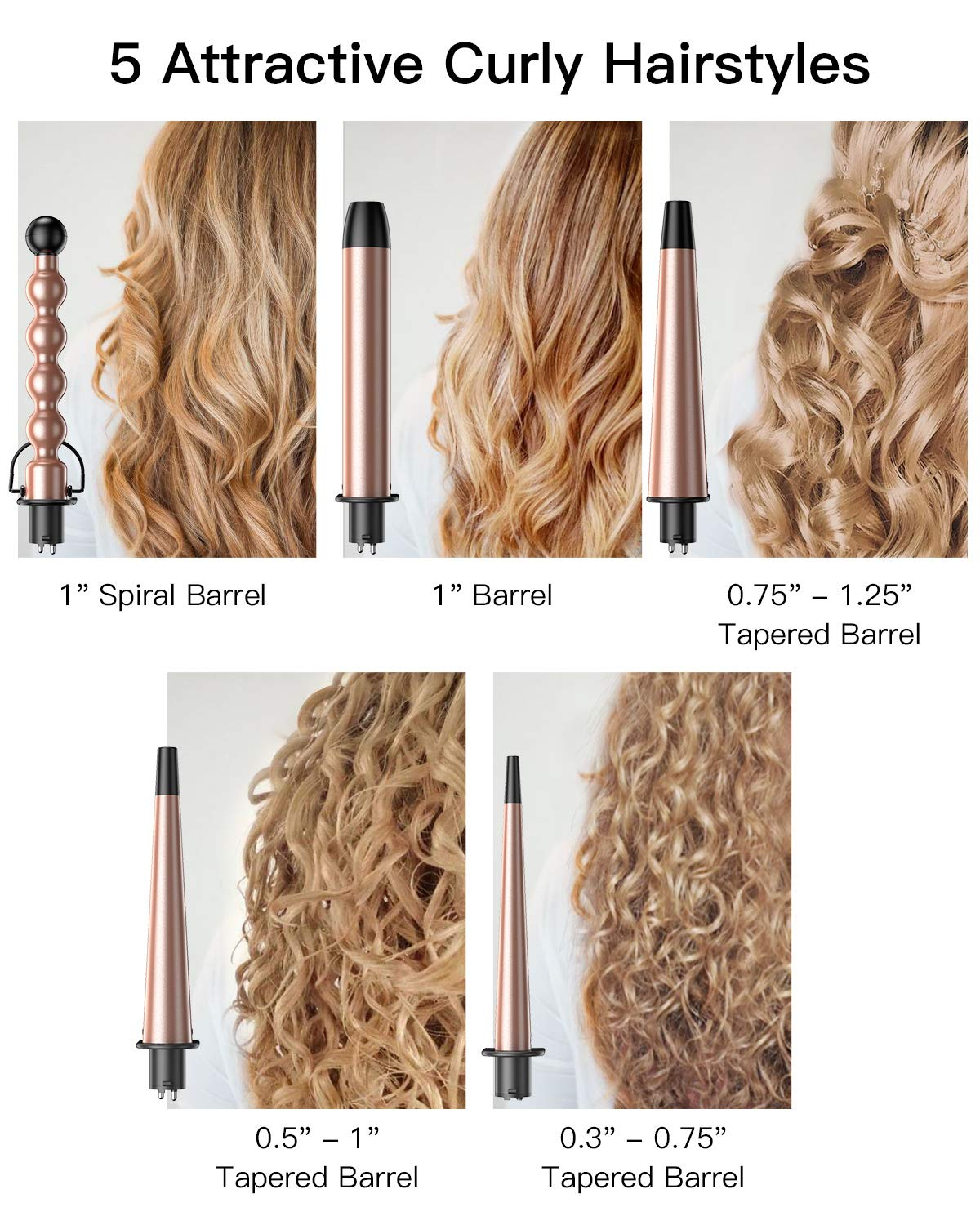BESTOPE Curling Iron Curling Wand Set 5 in 1 Interchangeable Ceramic Barrels results