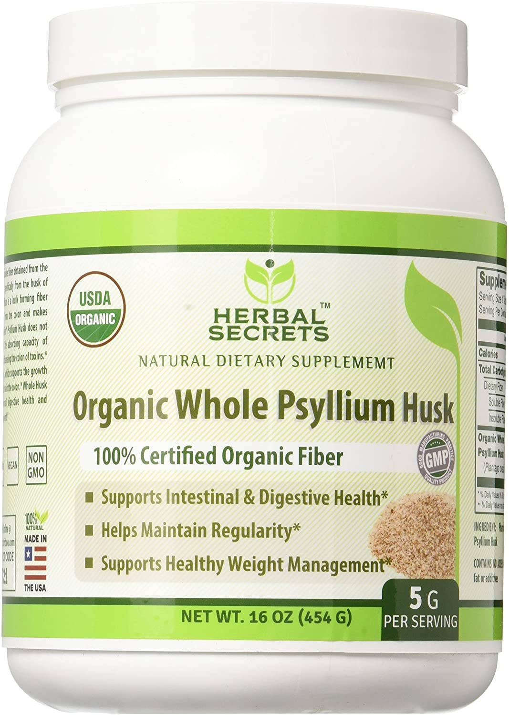 Herbal Secrets USDA Certified Organic Psyllium Husk