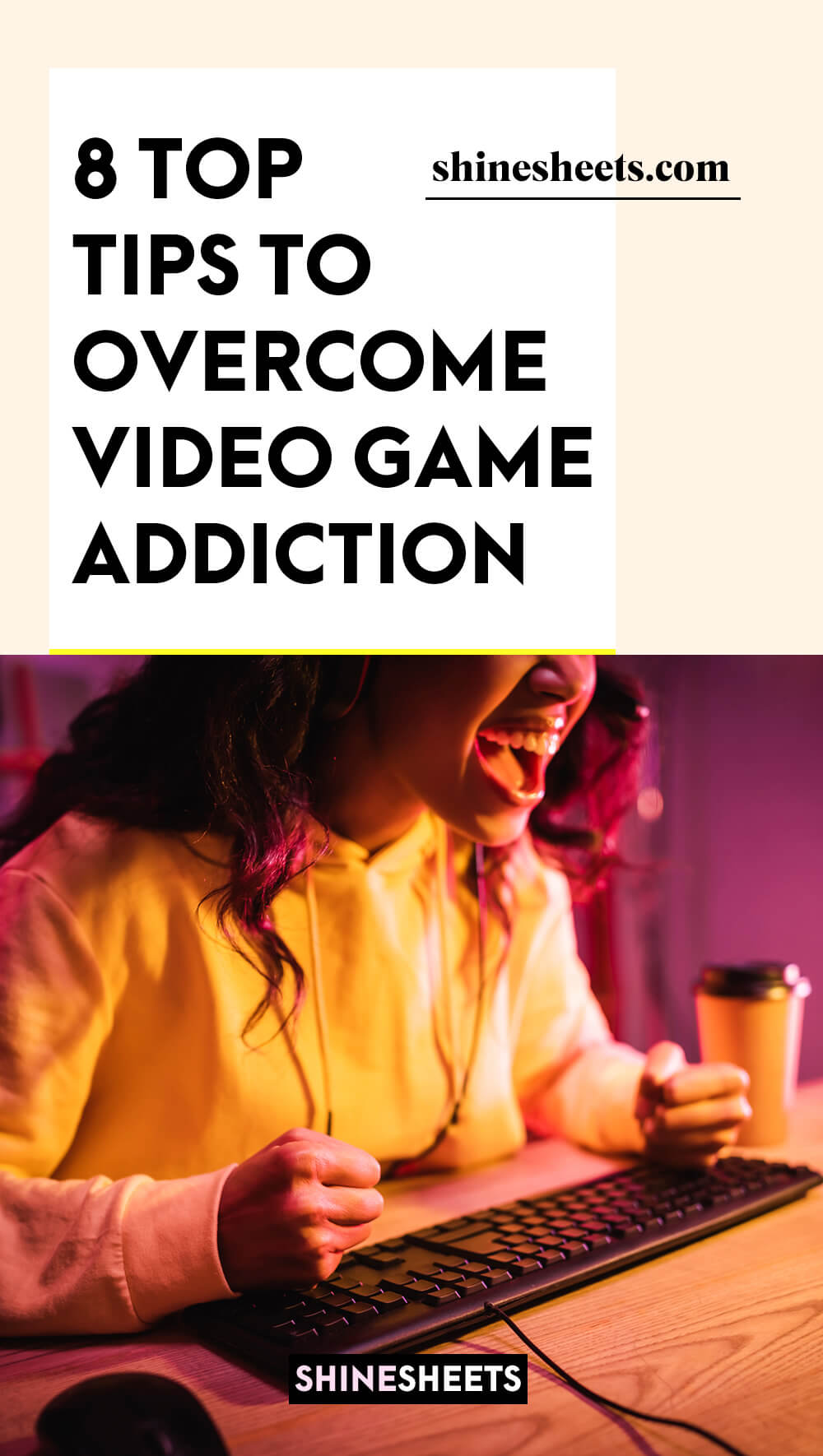 a girl with video game addiction screaming